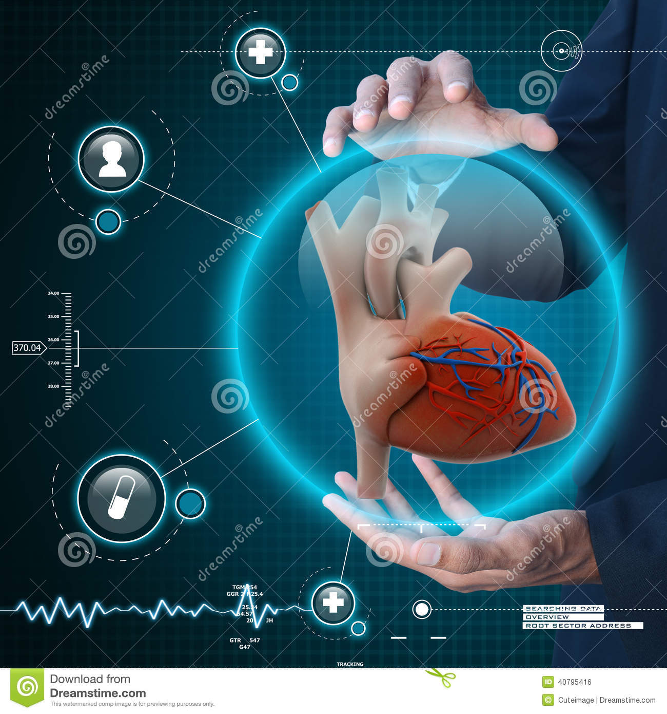 Smart hand showing human heart