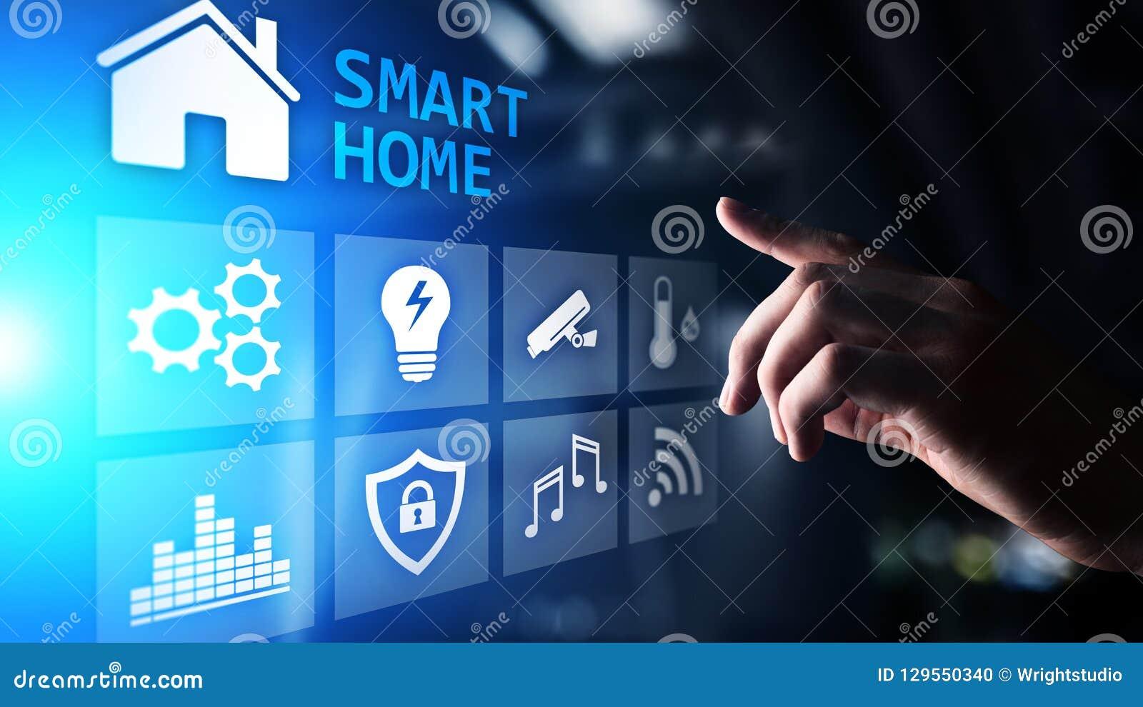 Smart hem- kontrollbord på den faktiska skärmen Internet av saker, IOT, begrepp för processautomation