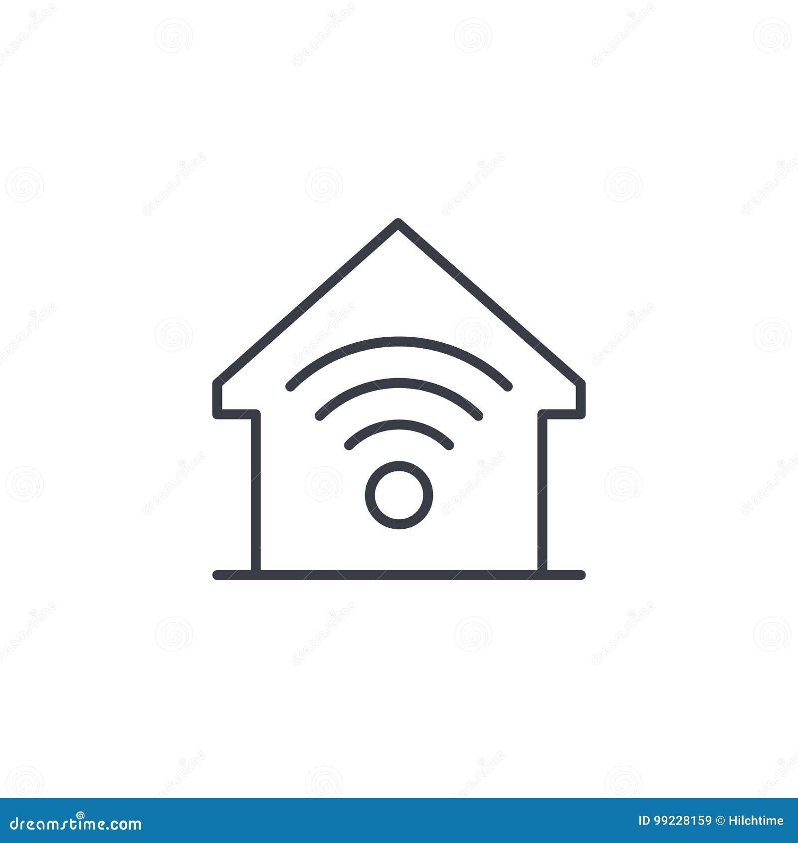 Smart hem, trådlös teknologi, tunn linje symbol för digitalt hus Linjärt vektorsymbol