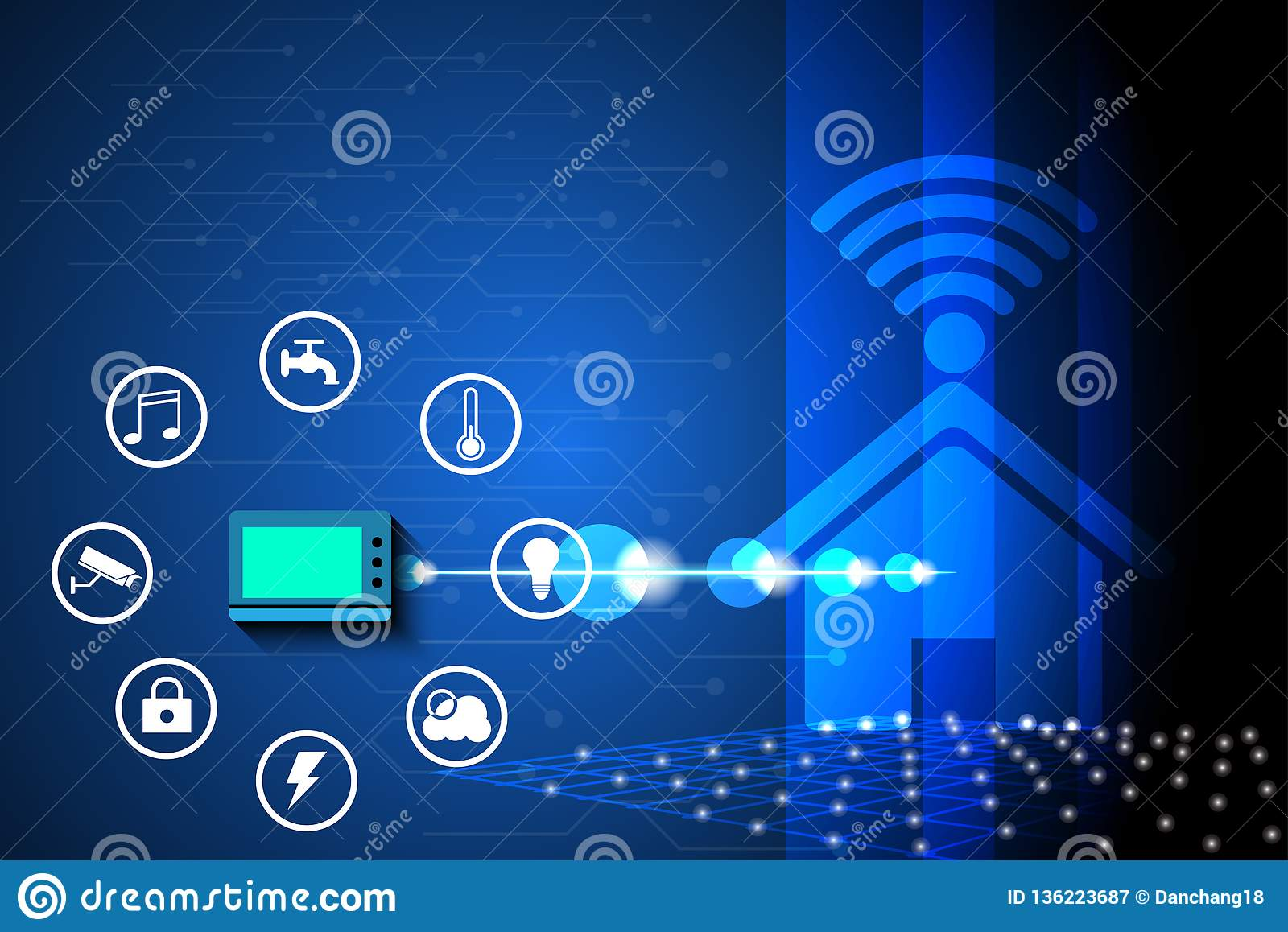 Smart home controlled Public utility network concept use for background.