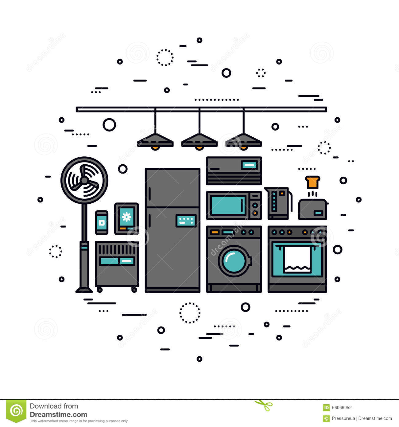 Smart Home Appliances Line Style Illustration Stock Vector