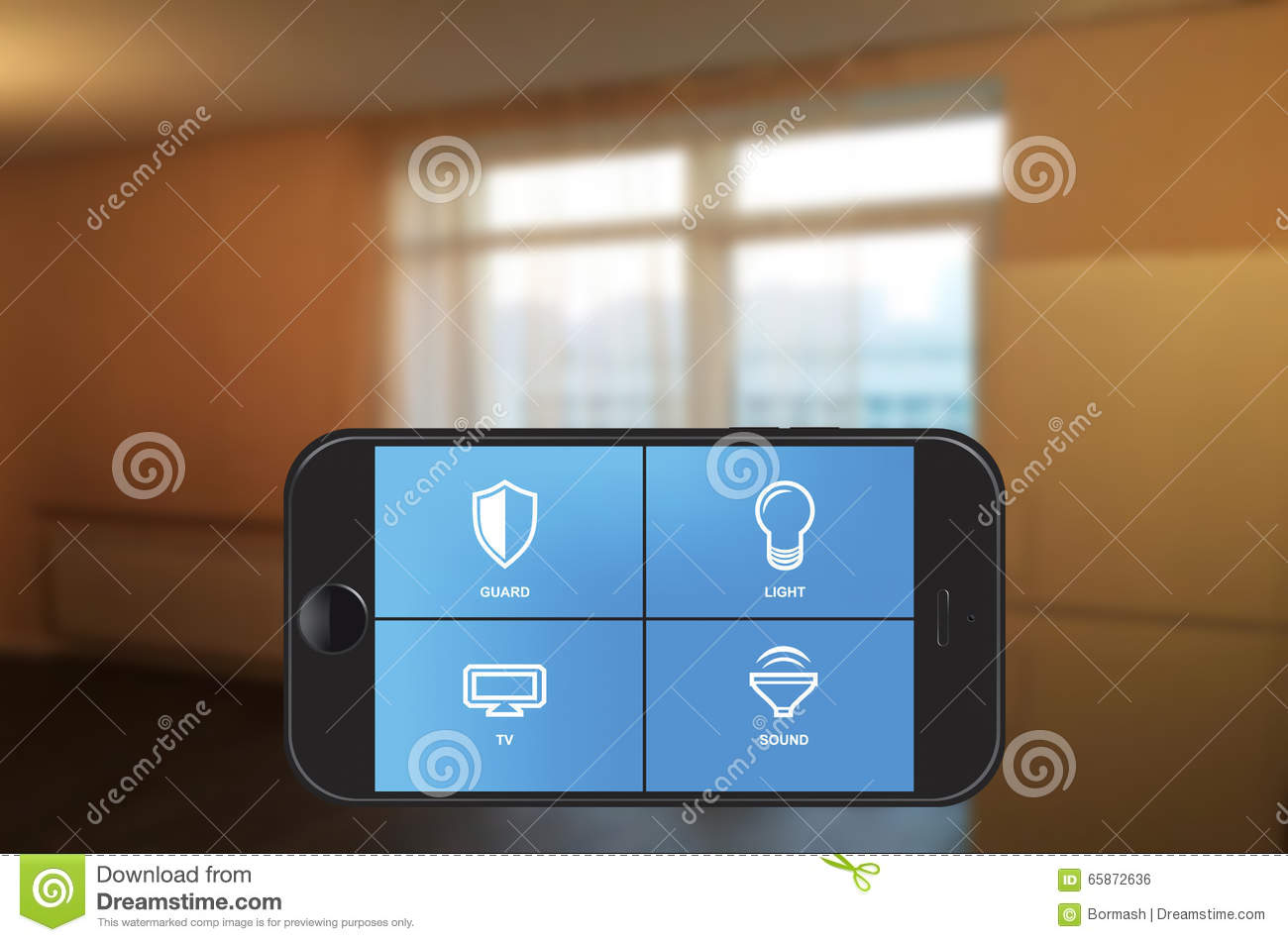 Smartphone Home Automation smart home automation app on smartphone stock photo - image: 65872636