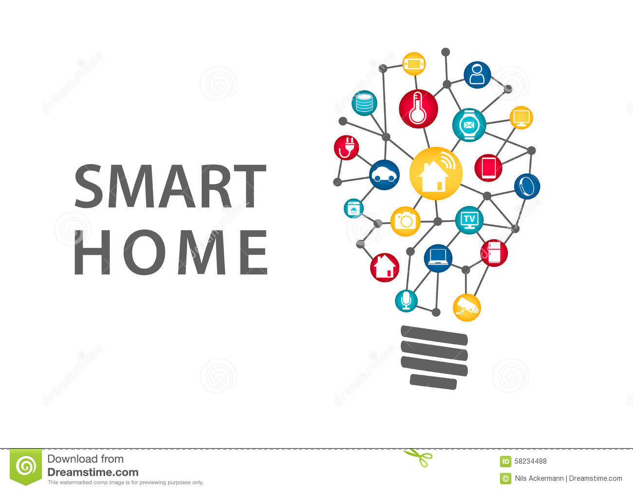 Cluster House Plans Smart Home Automation Concept Vector Illustration Of