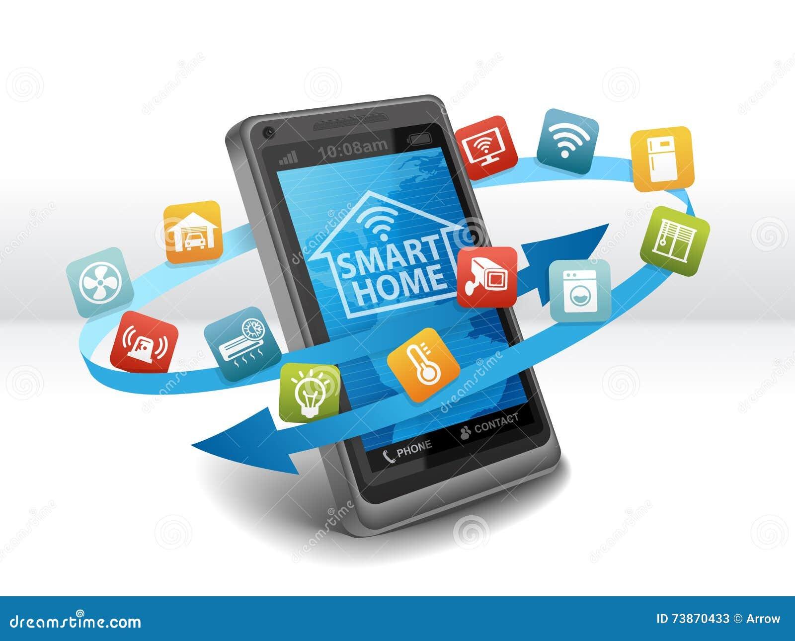smart home automation control apps on smartphone stock illustration illustration of heating. Black Bedroom Furniture Sets. Home Design Ideas