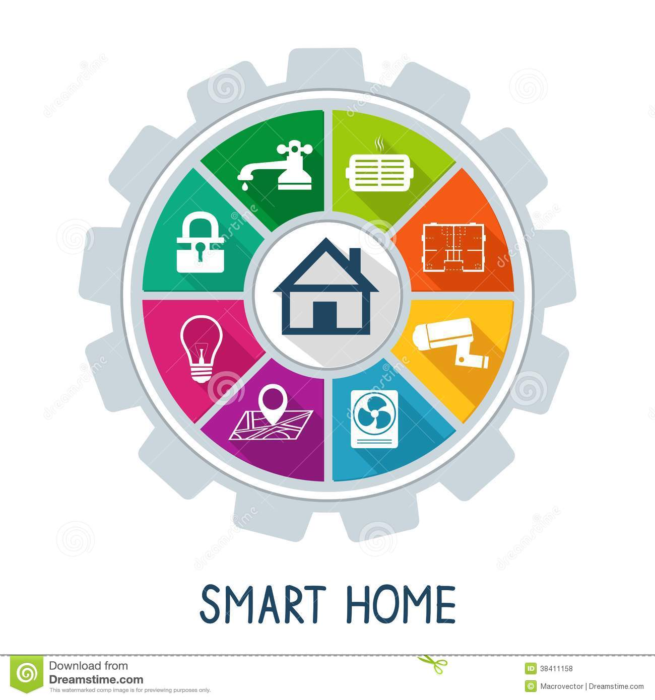 smart home automation technology concept stock vector