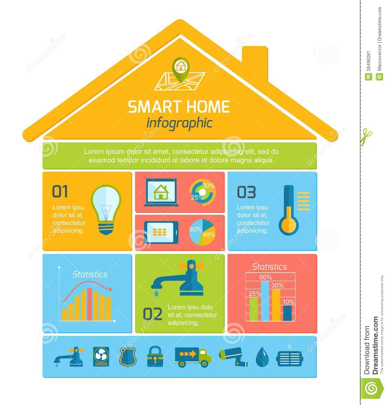 Smart home automation technology infographics stock vector image 39496261 - Home design elements ...