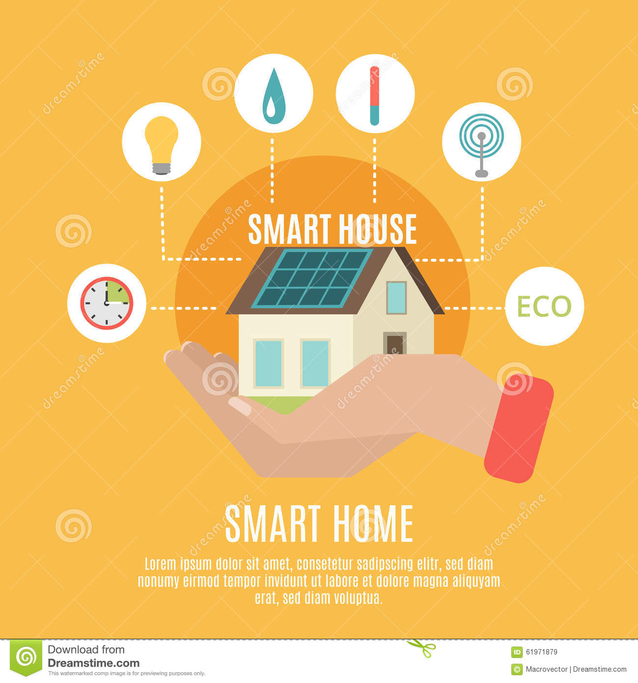 Smart Home Concept Flat Icon Poster Stock Vector Image