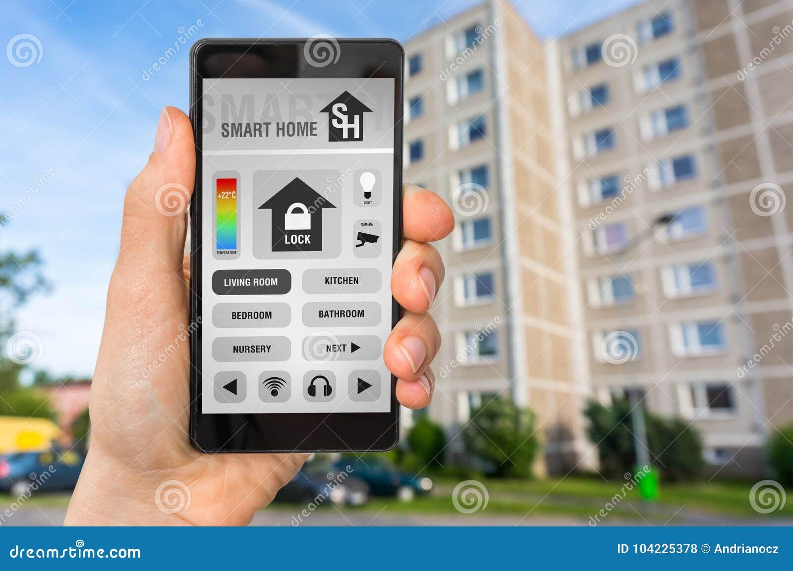 Smart Home Control App On Smartphone - Smart Home Concept Stock ...