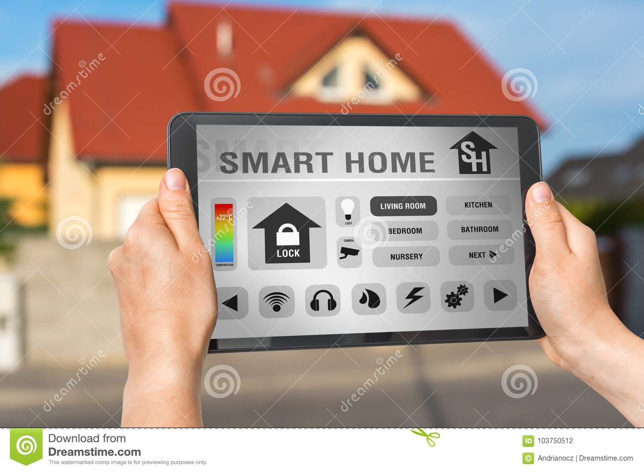 Smart Home Control App On Tablet - Smart Home Concept Stock Photo ...