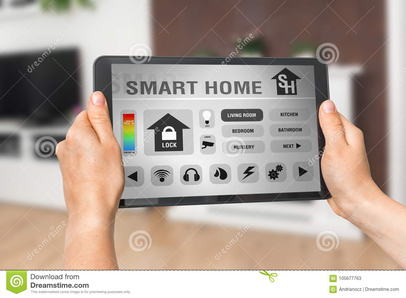 Smart Home Control App On Tablet - Smart Home Concept Stock Image ...