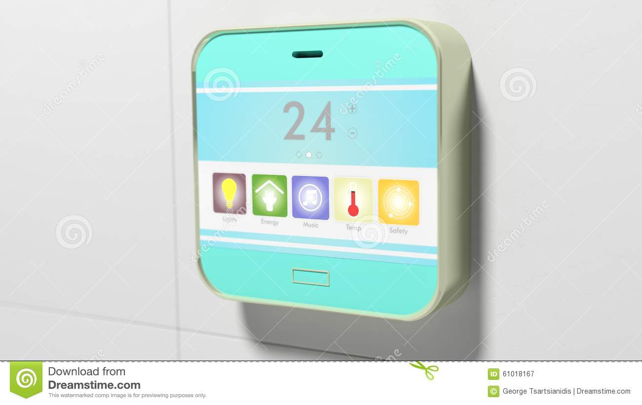 Smart Home Control Device Display Stock Illustration