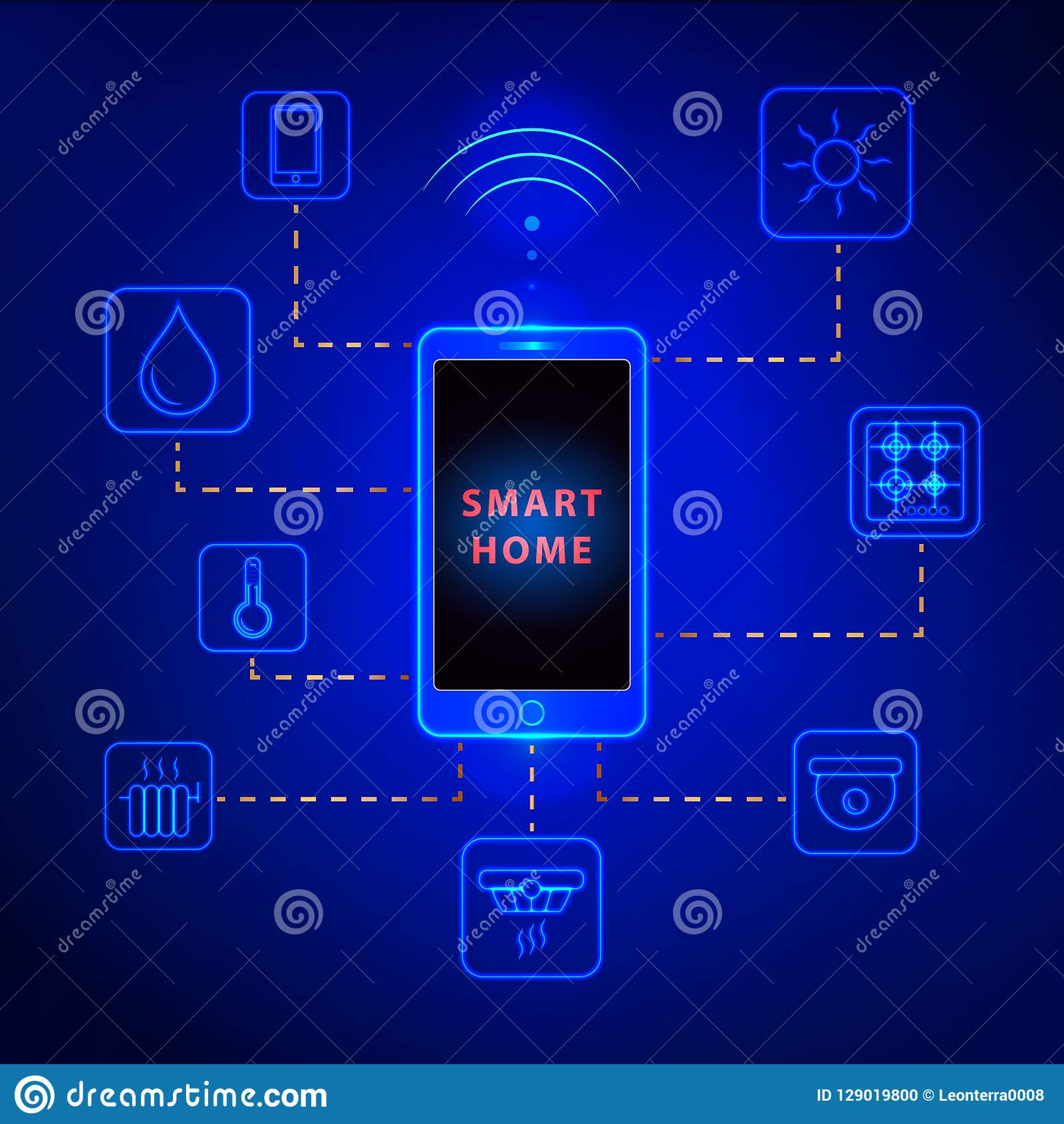 Smart home controlled smartphone. Internet technology of home automation system.