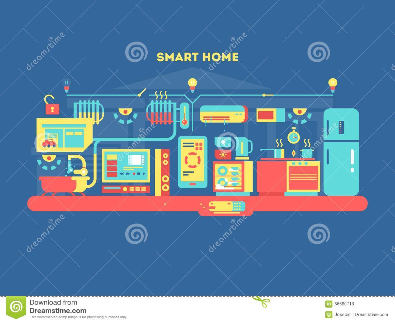 smart home design concept stock vector image 66660718