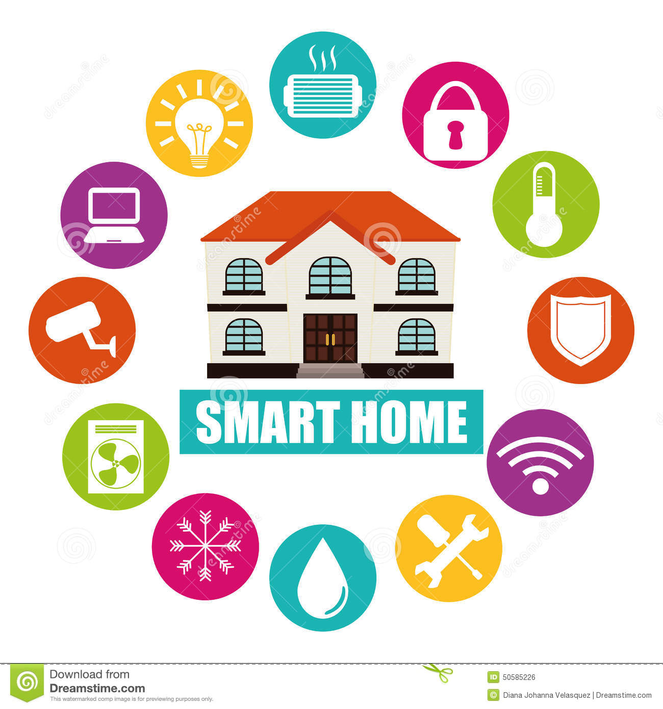 Smart home stock illustration image 50585226 - How to design a smart home easily ...