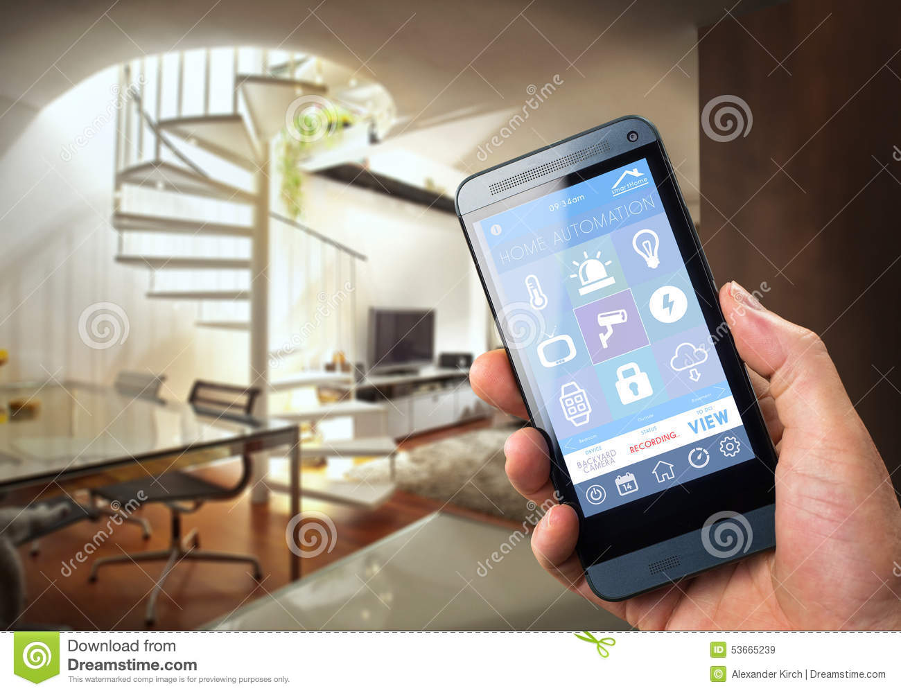 Smartphone Home Control smart home device - home control stock photo - image: 53665239
