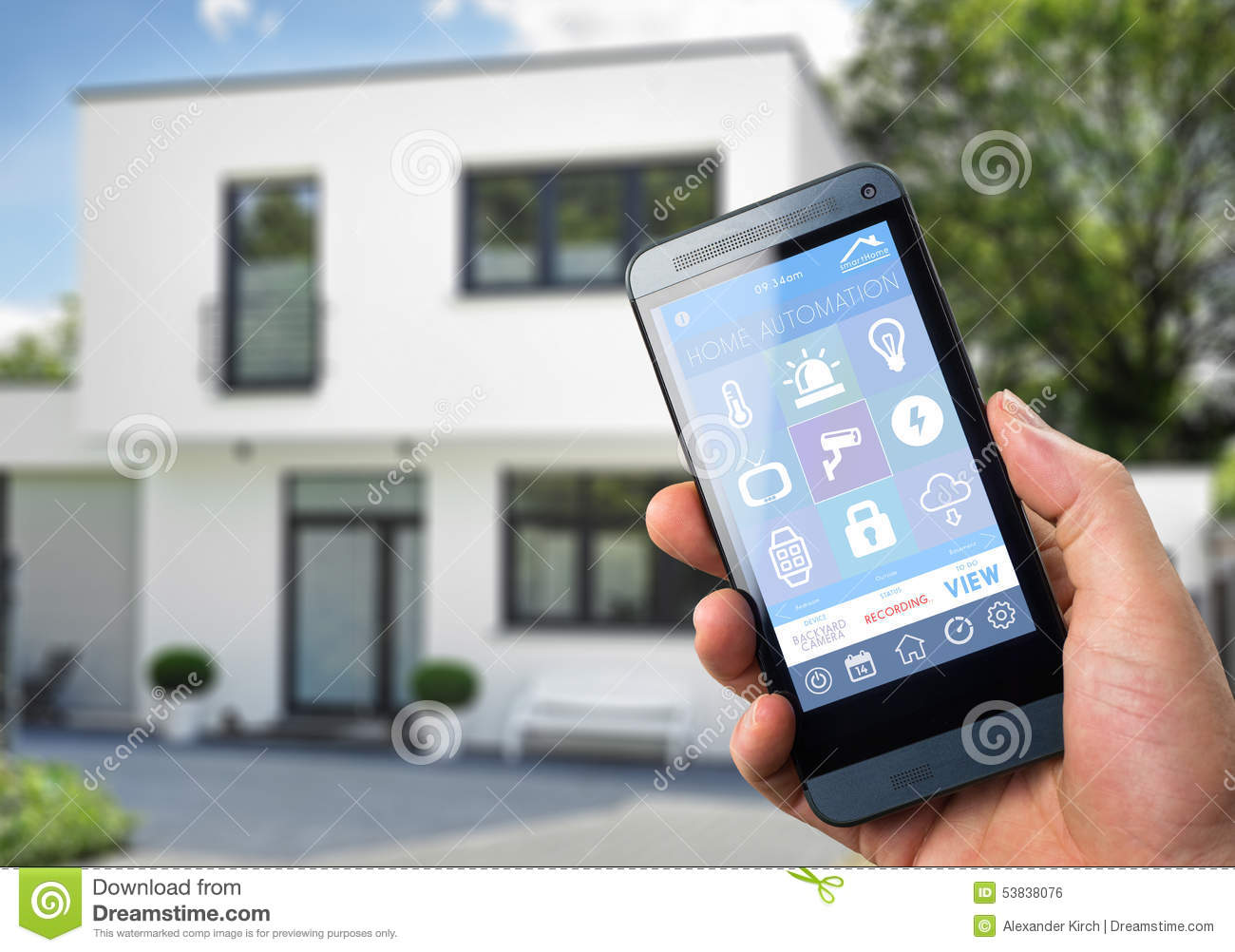 Smart home device home control stock illustration - Control lights with smartphone ...