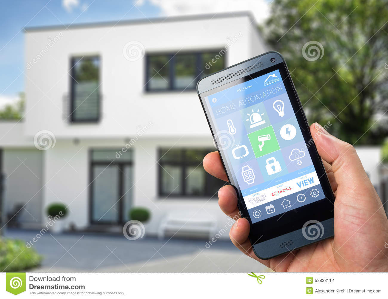 Smartphone Home Automation smart home device - home control stock illustration - image: 53838112