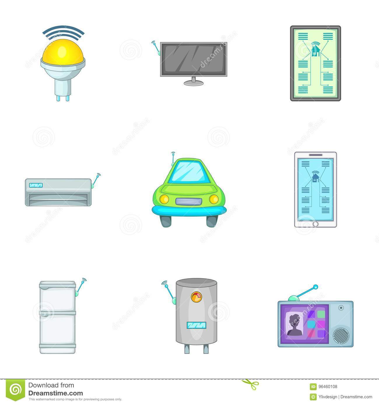 smart home devices icons set cartoon style stock vector image 96460108. Black Bedroom Furniture Sets. Home Design Ideas