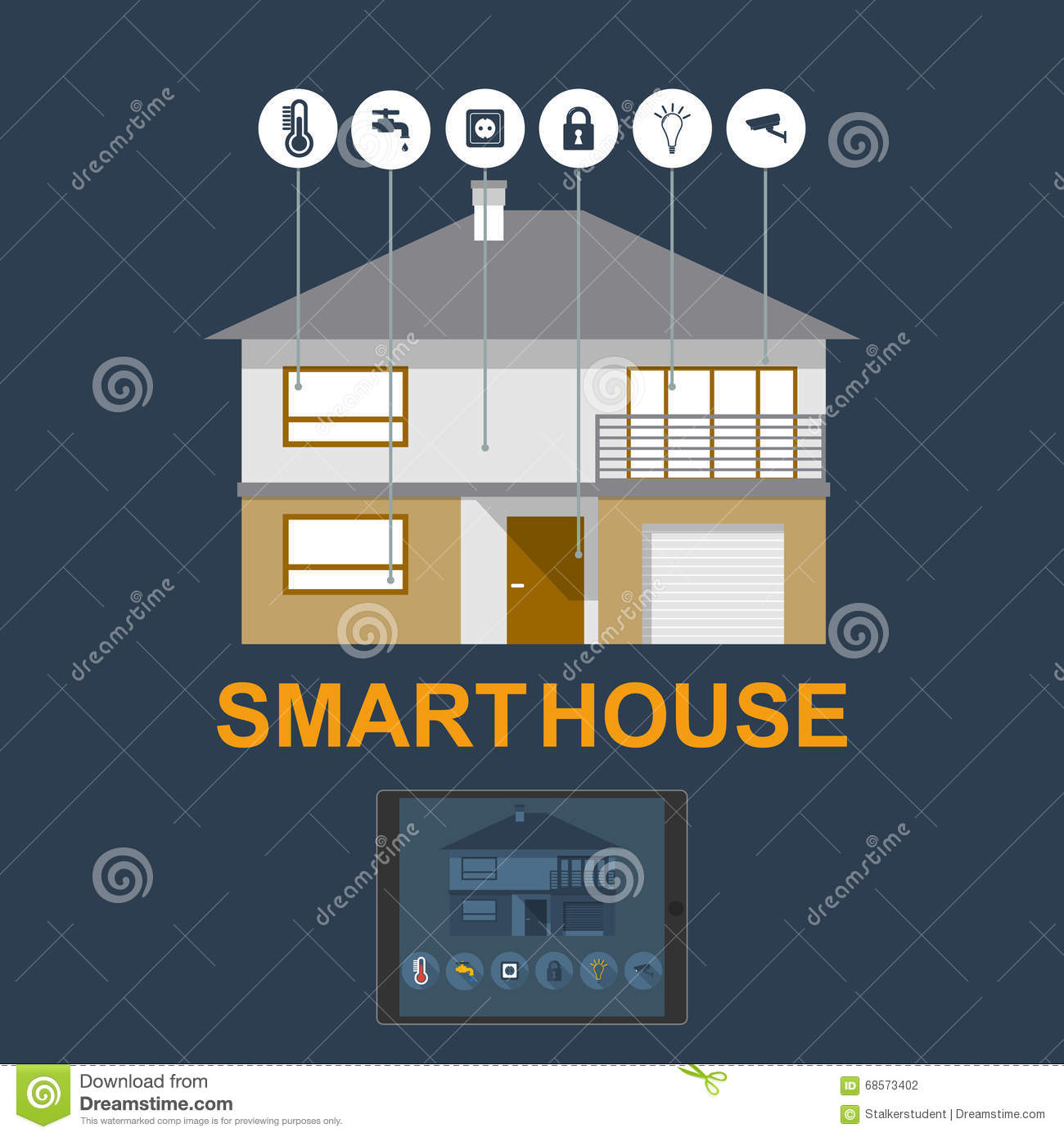 Smart Home. Flat Design Style Illustration Concept Of Smart House  Technology System With Centralized Control