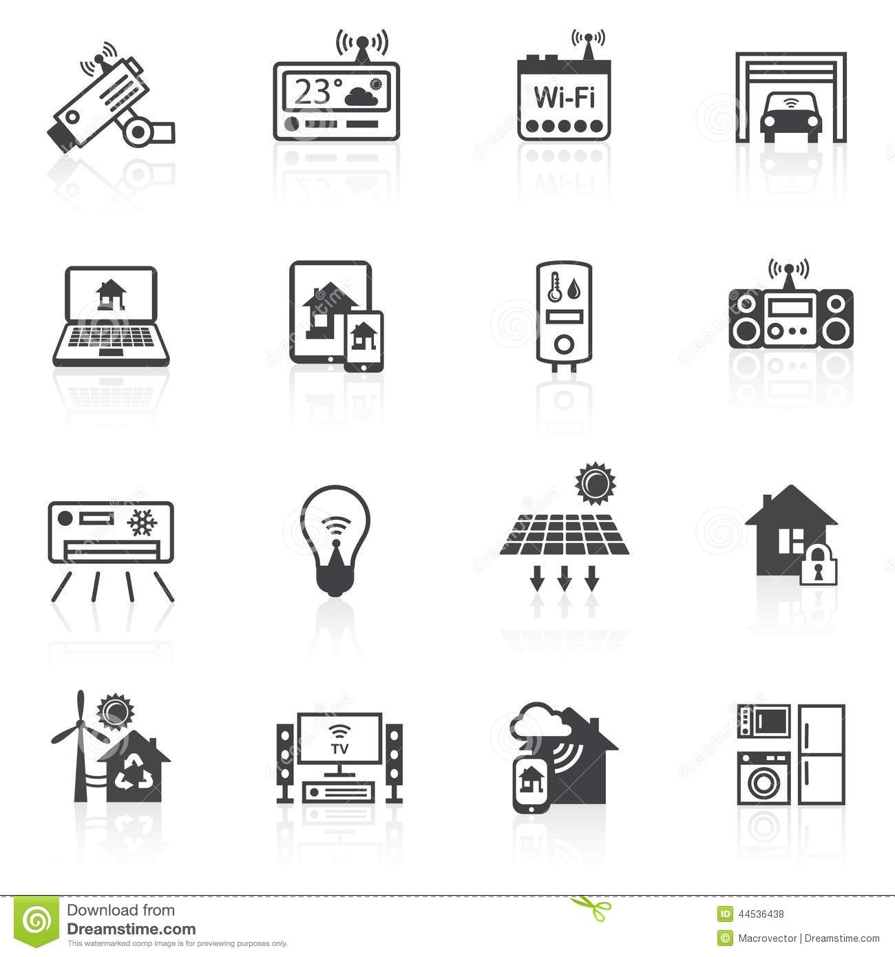 Smart Home Icons Black Stock Vector Image 44536438