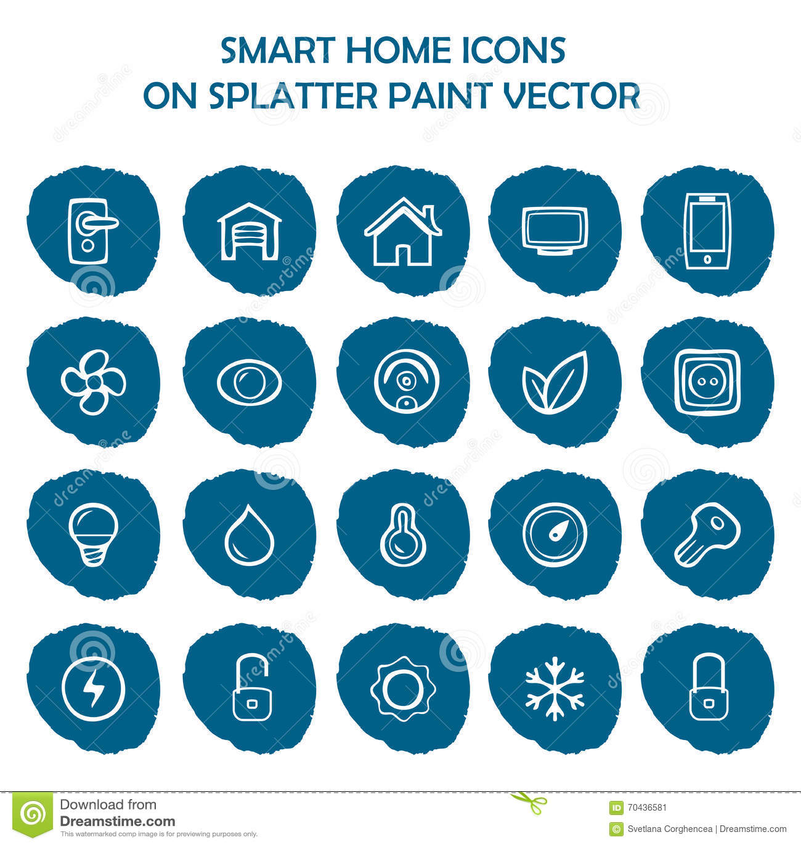 smart home icons on blue splatter paint flat icons stock vector image 70436581. Black Bedroom Furniture Sets. Home Design Ideas