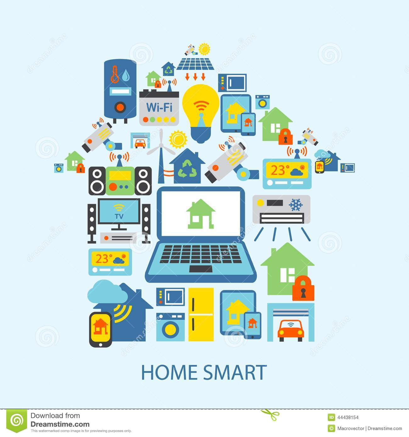 smart home icons set stock vector image 44438154