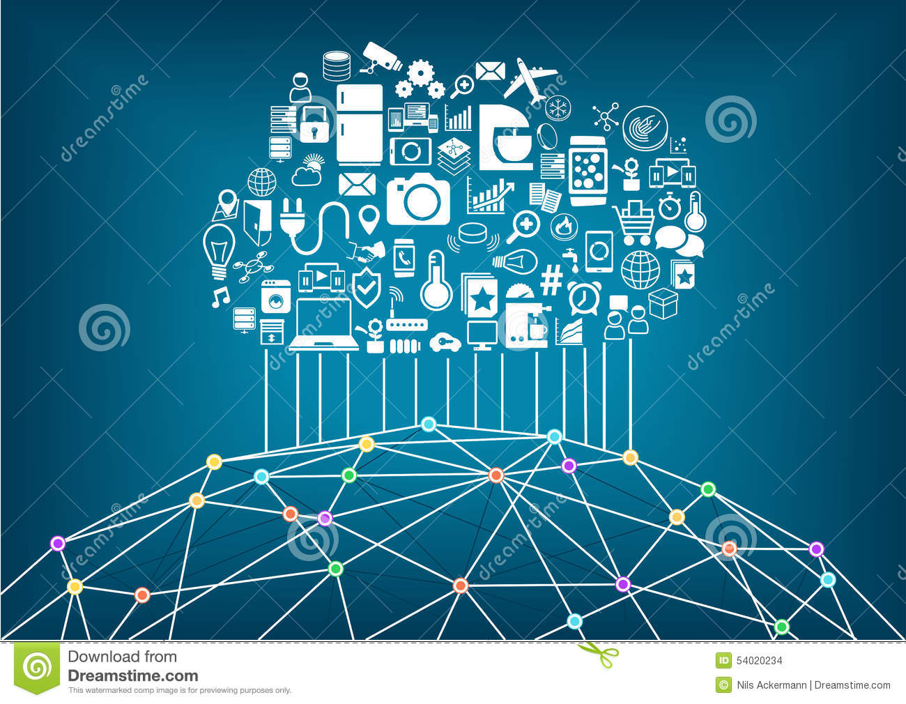 Smart home and internet of things concept cloud computing for Internet house