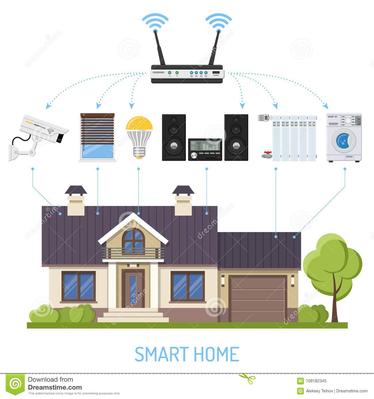 Smart Home And Internet Of Things Stock Vector