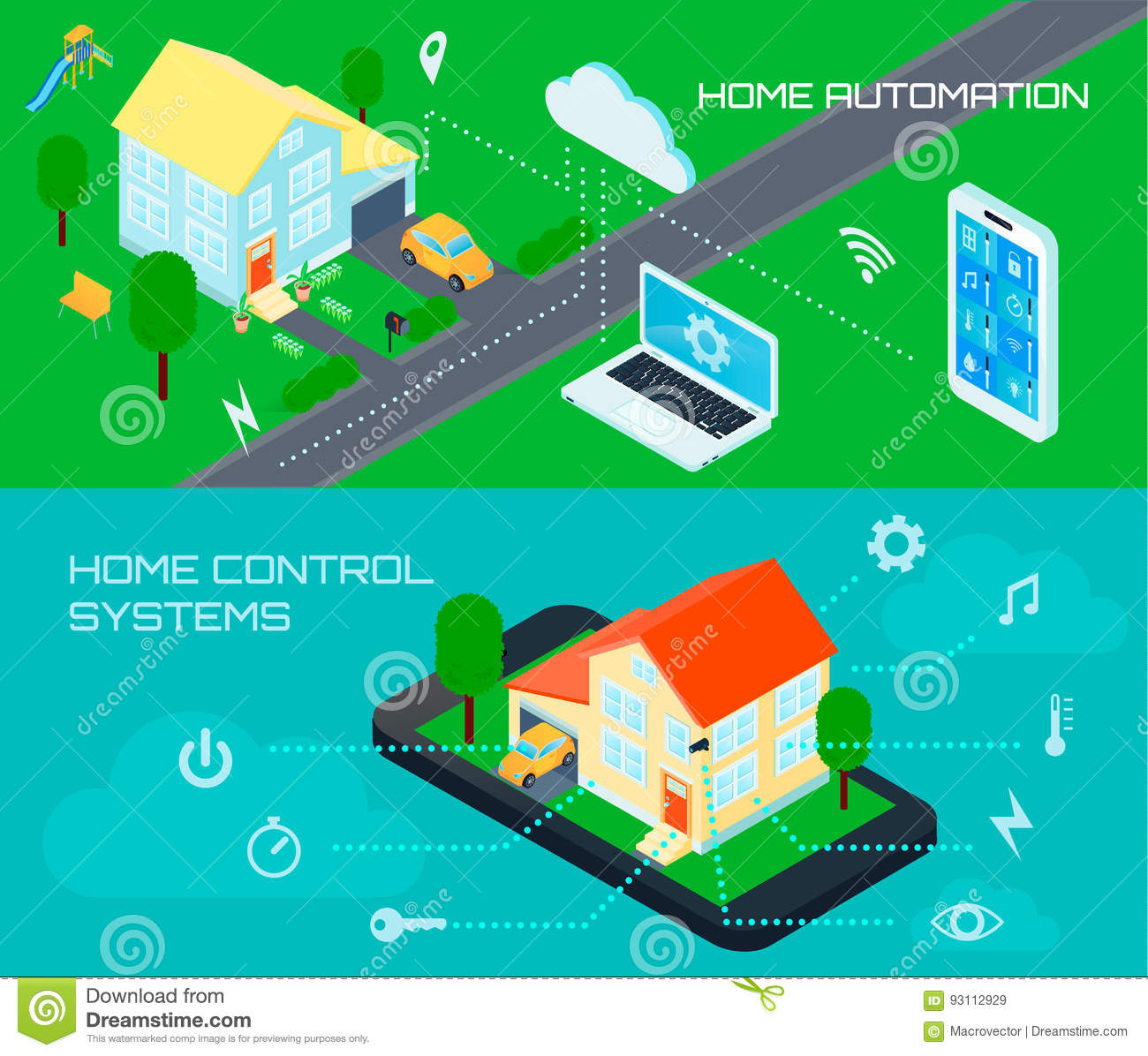 Smart Home Isometric Banners Set Stock Vector - Illustration of ...