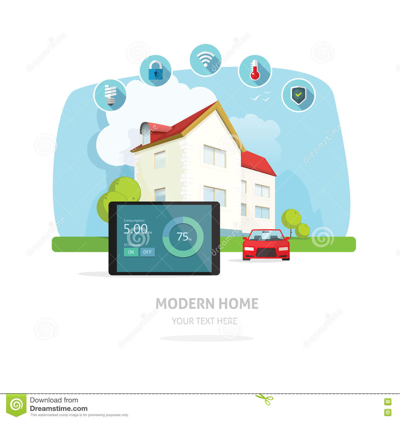 Smart home modern future house vector illustration stock for Smart home technology definition