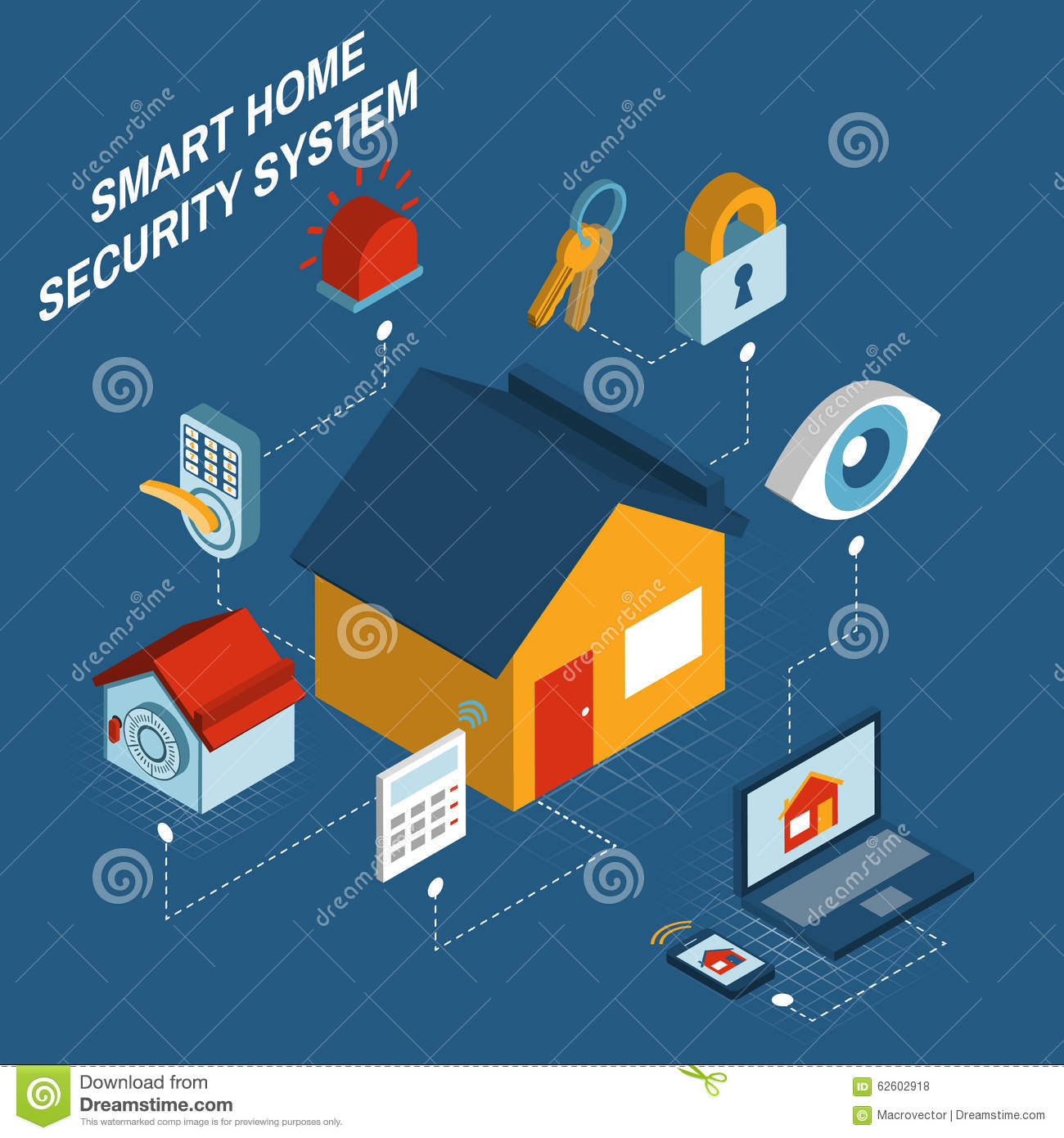 smart home security system isometric poster stock vector image 62602918. Black Bedroom Furniture Sets. Home Design Ideas