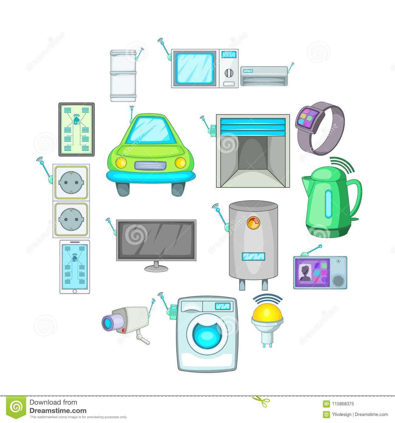 smart home system icons set cartoon style stock vector illustration of microwave electronic. Black Bedroom Furniture Sets. Home Design Ideas