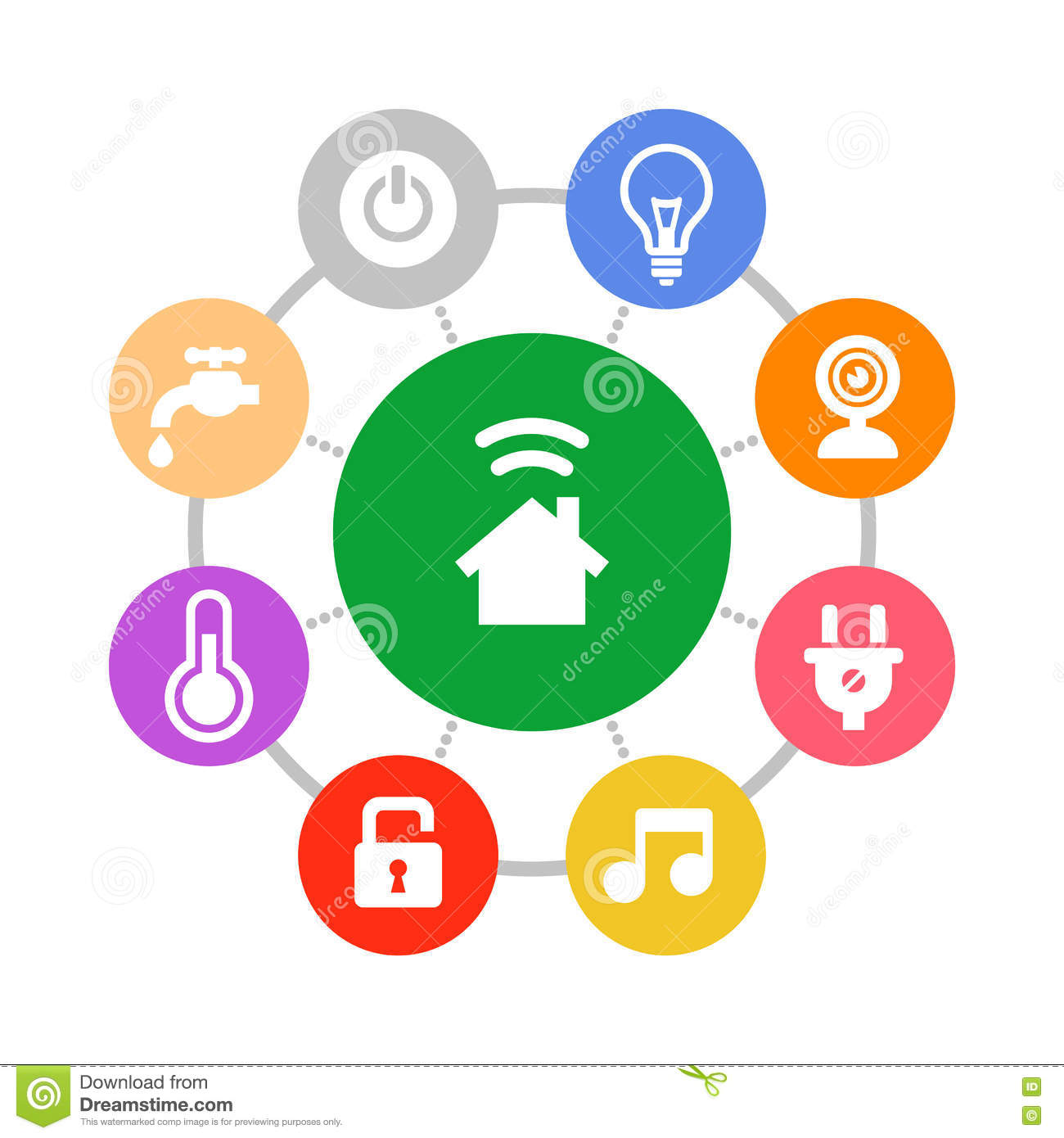 Smart Home System Icons Set Flat Design Style Stock Vector Image