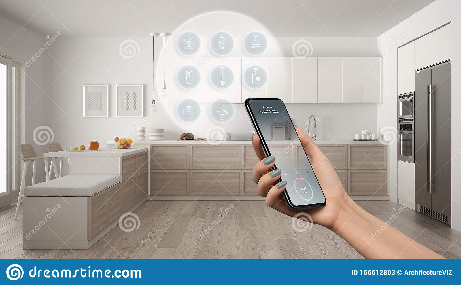 Smart Home Technology Interface On Phone App Augmented Reality Internet Of Things Interior Design Of Modern Kitchen With Stock Image Image Of Application Hand 166612803