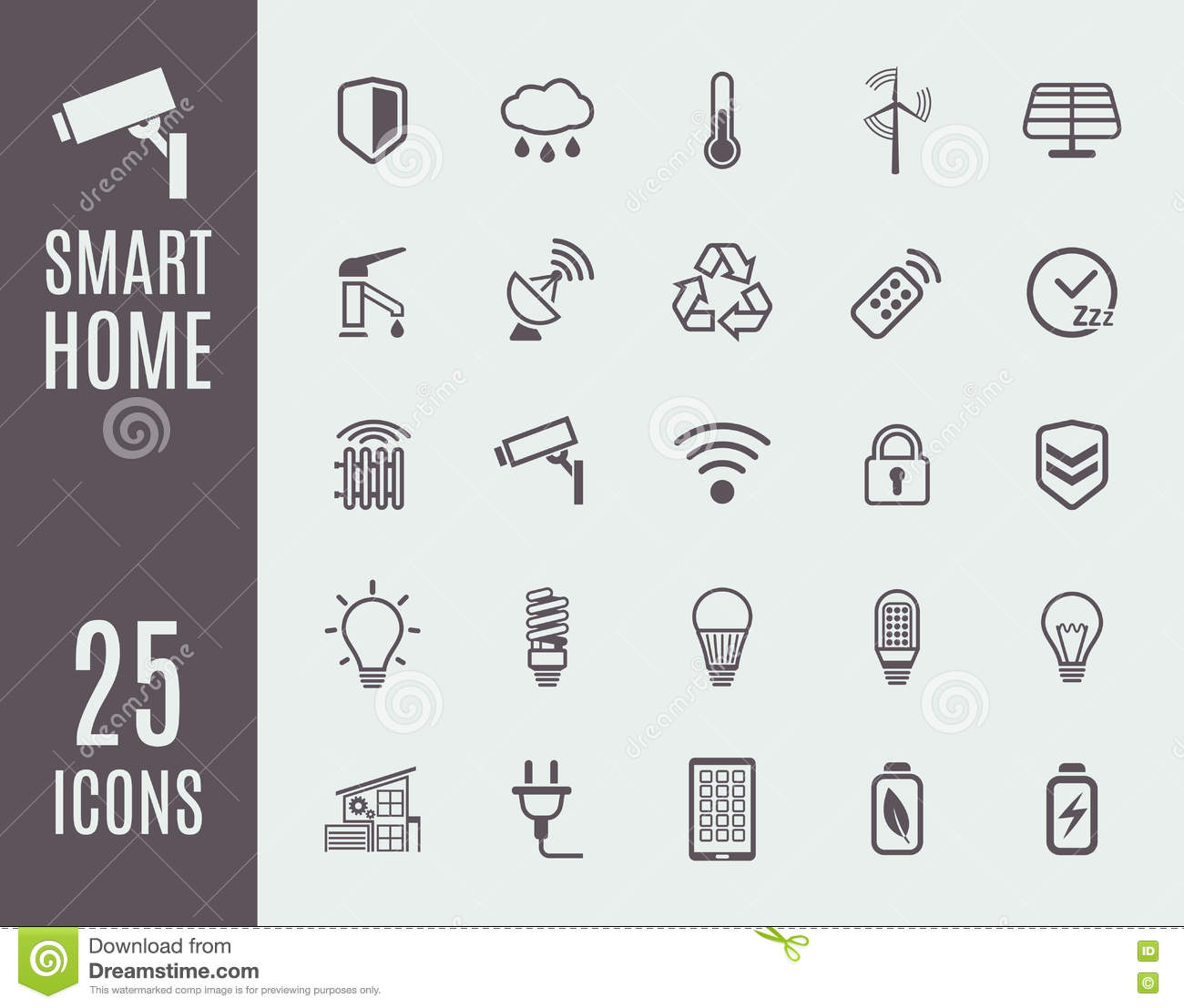Smart Home Thin Line Icon Set. Automation Control Systems ...