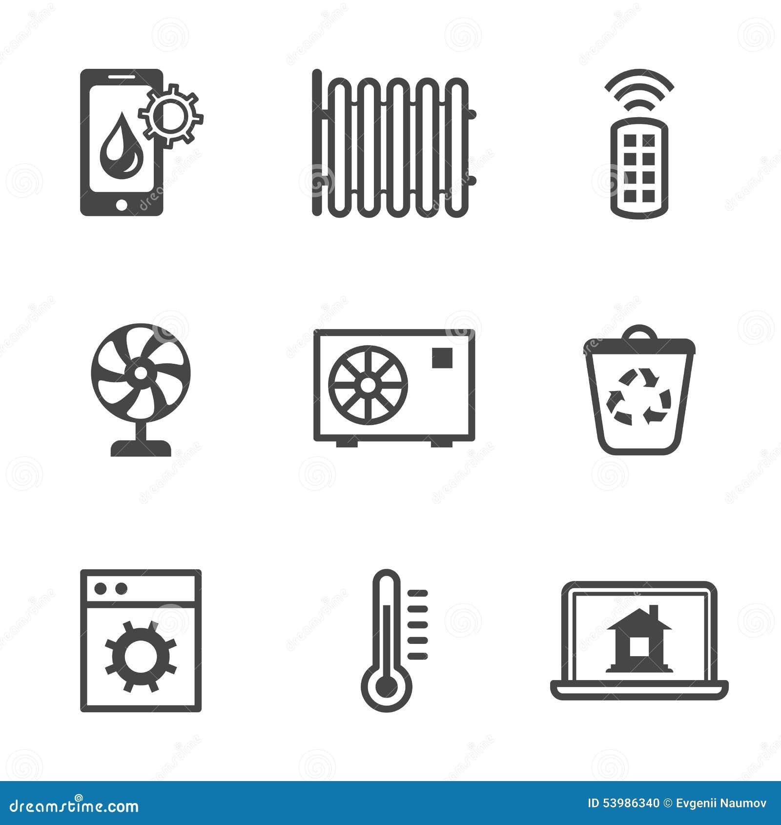 smart home security system black icons set vector illustration