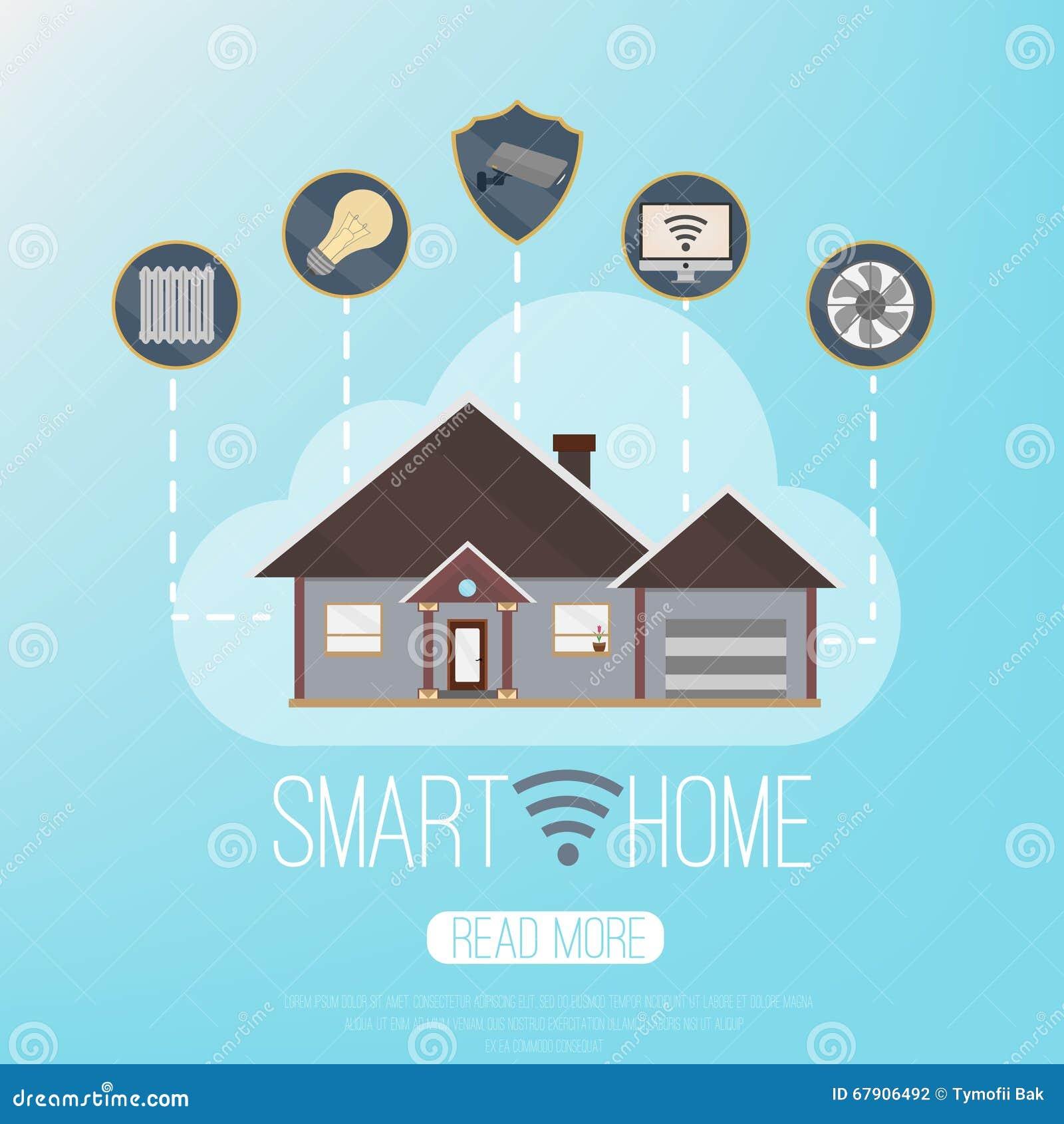 Smart Home Technologies: Smart Home. Vector Illustrarion ,concept,banner Of Smart