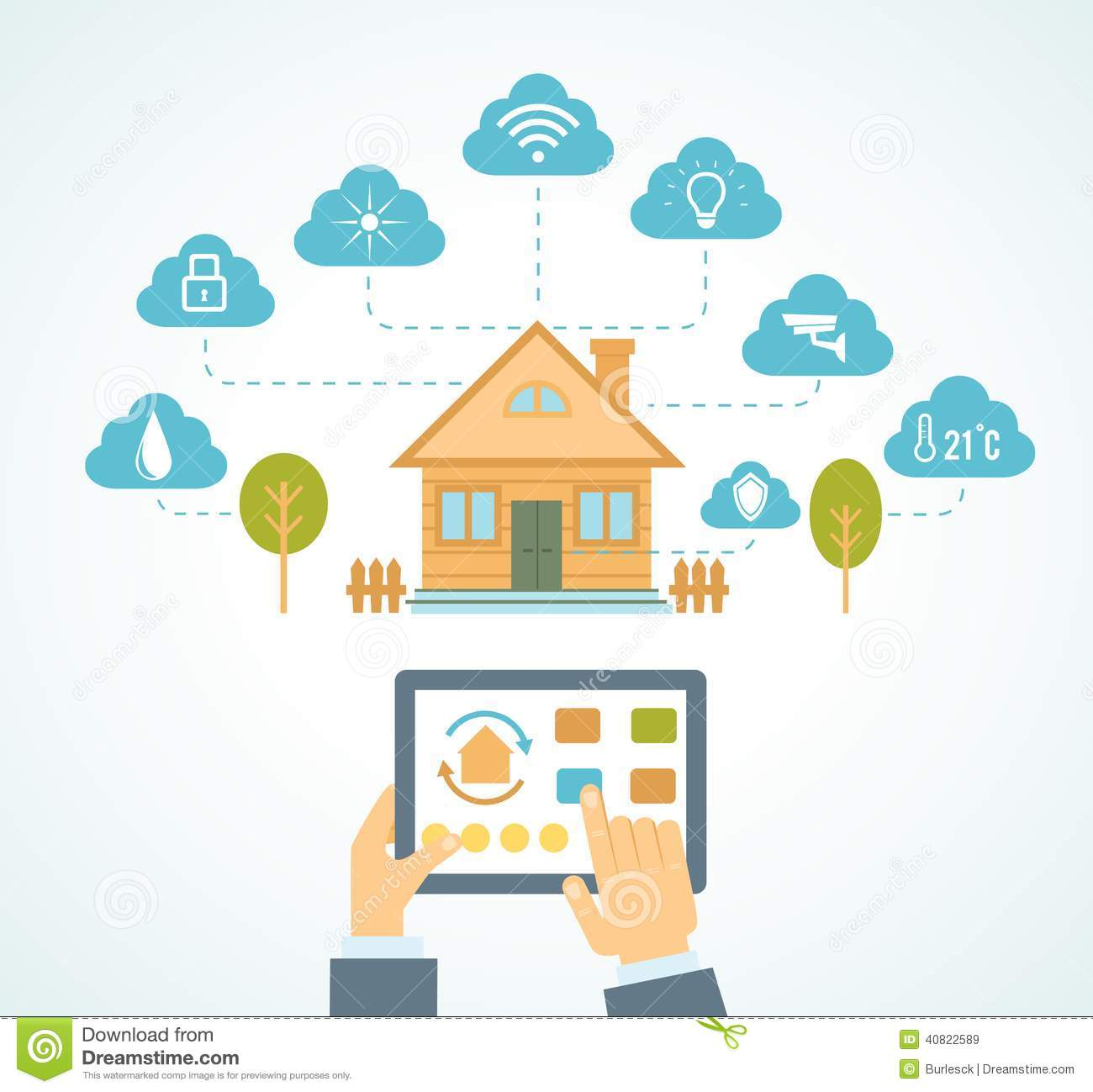 Smart House Automation Vector Illustration Concept Technology System Centralized Control