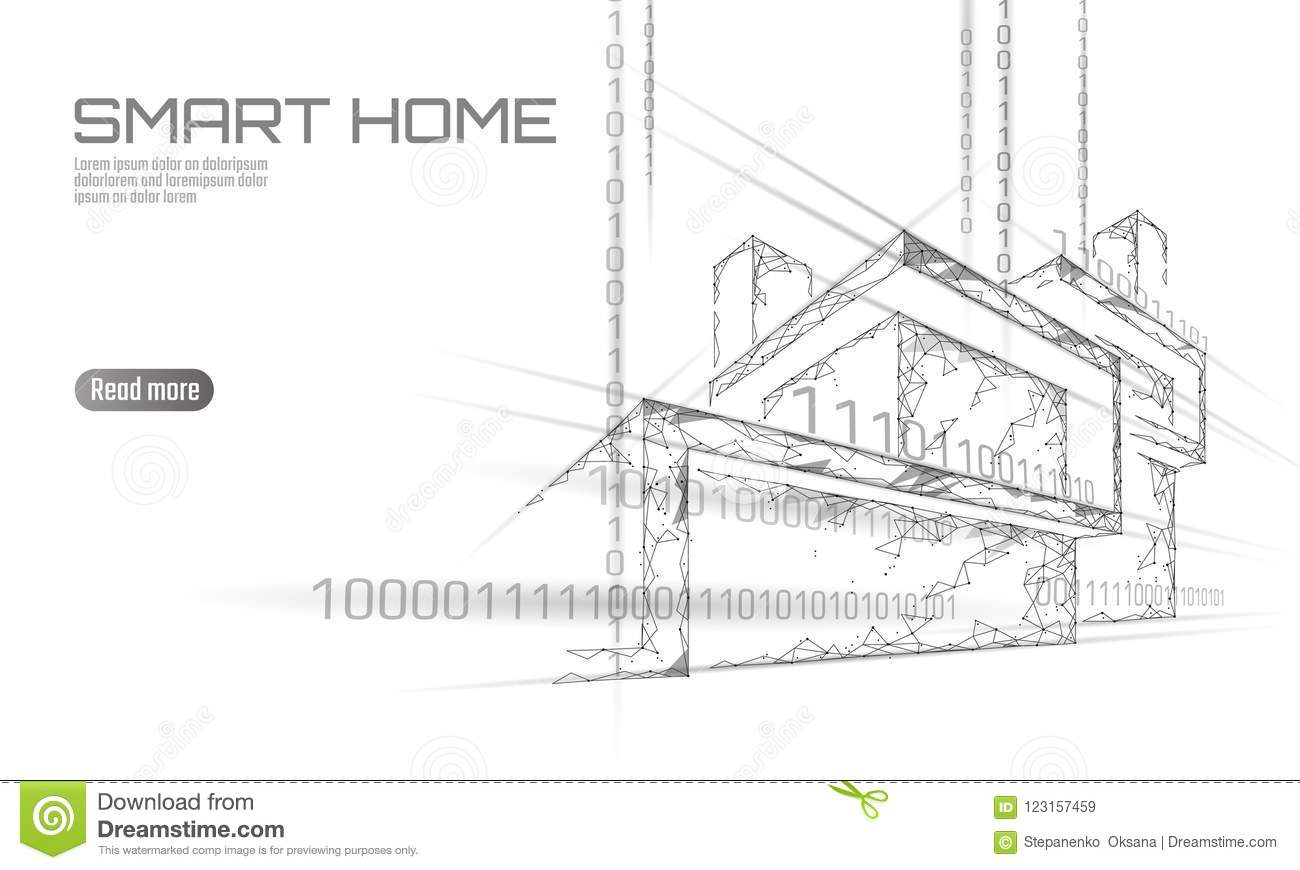 Smart house binary code low poly concept. Online control information analysis. Internet of things technology home
