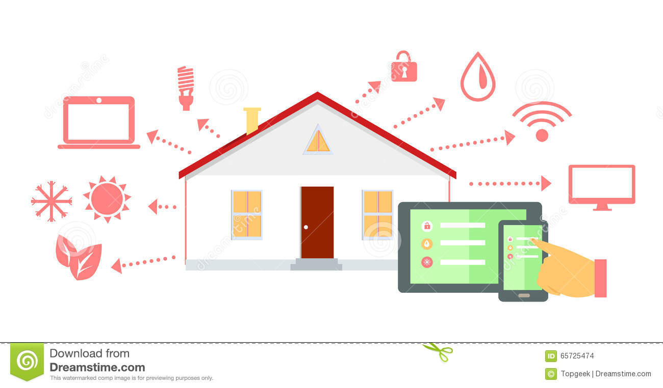 Smart House Concept Icon Flat Design Stock Vector Image 65725474