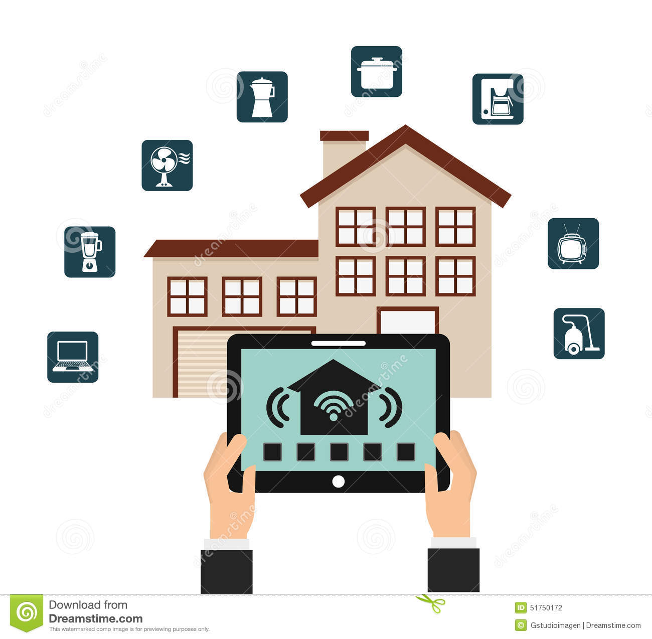 Smart House Stock Vector Image 51750172