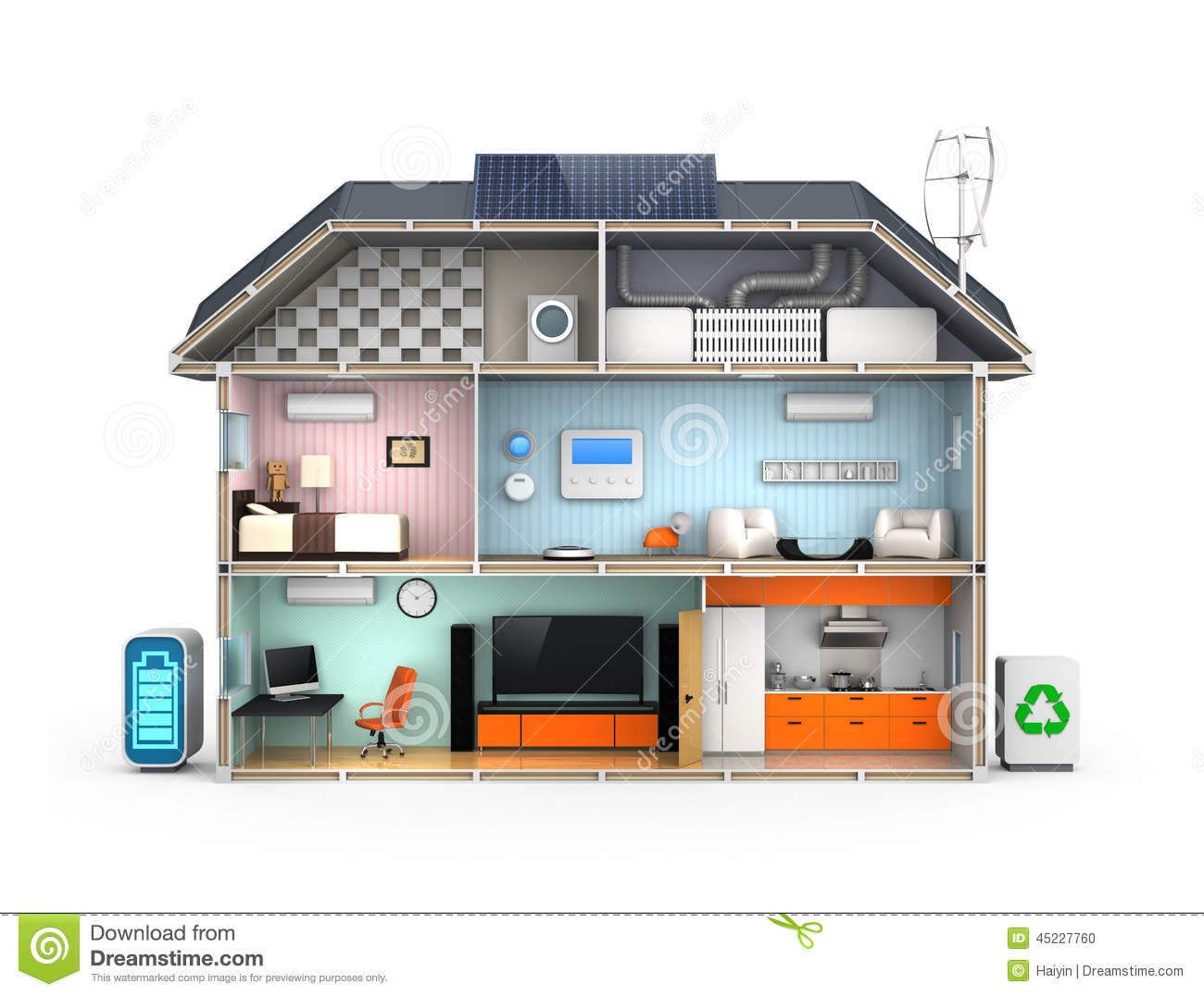 Smart House With Energy Efficient Appliances Stock