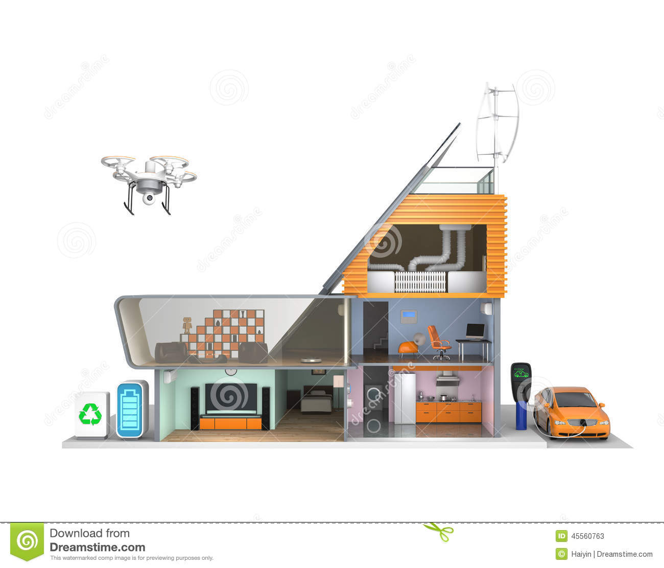 Smart House With Energy Efficient Appliances Solar Panels