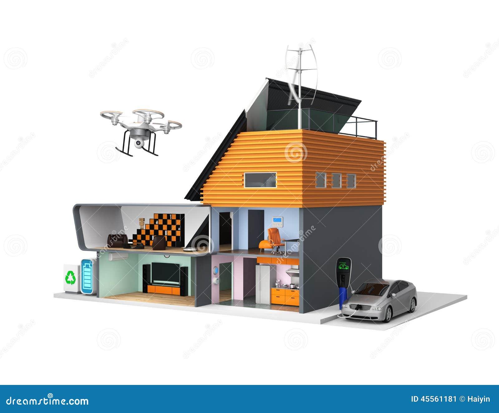 Smart house with energy efficient appliances solar panels for Solar efficient house design