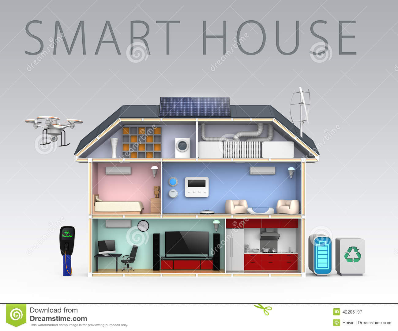 Smart house with energy efficient appliances with text Energy efficient kitchen design