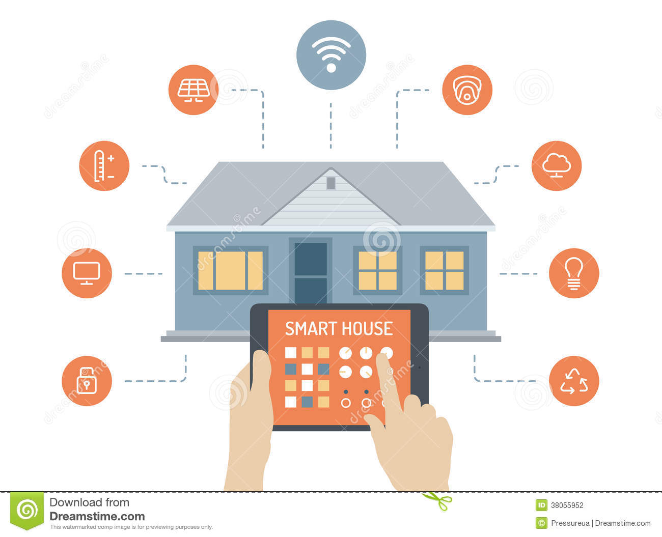 Smart House Flat Illustration Concept Stock Photography Image 38055952