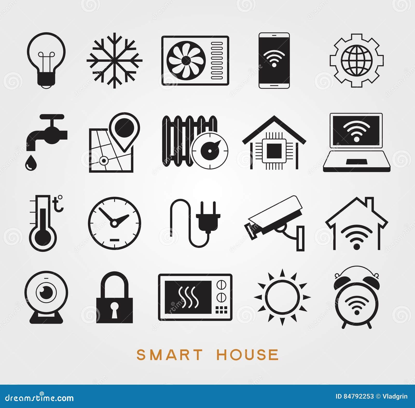 smart house black icons set cartoon vector cartoondealer. Black Bedroom Furniture Sets. Home Design Ideas