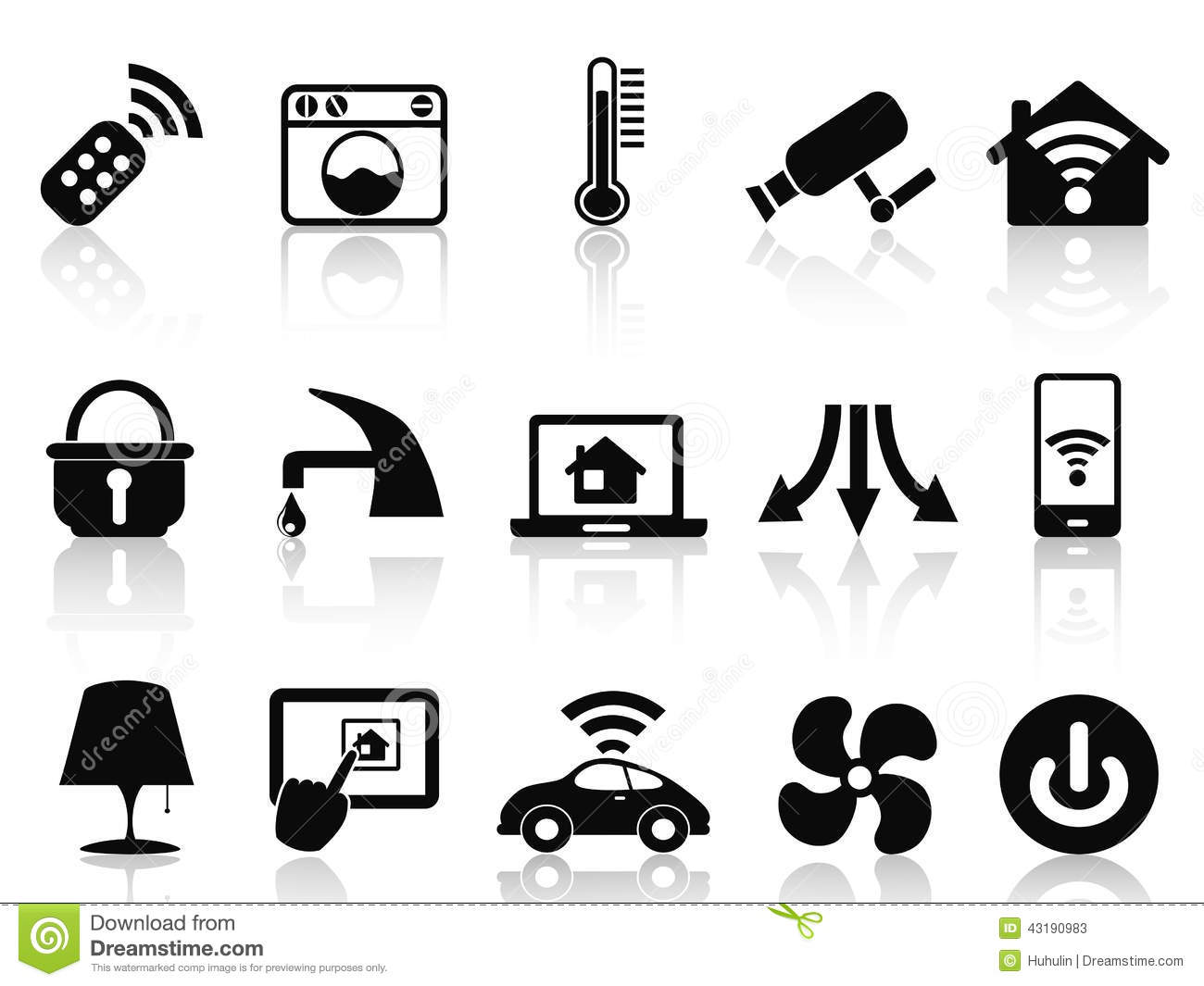 Smart Home Automation Icon Set In Flat Design Stock Vector - Image ...