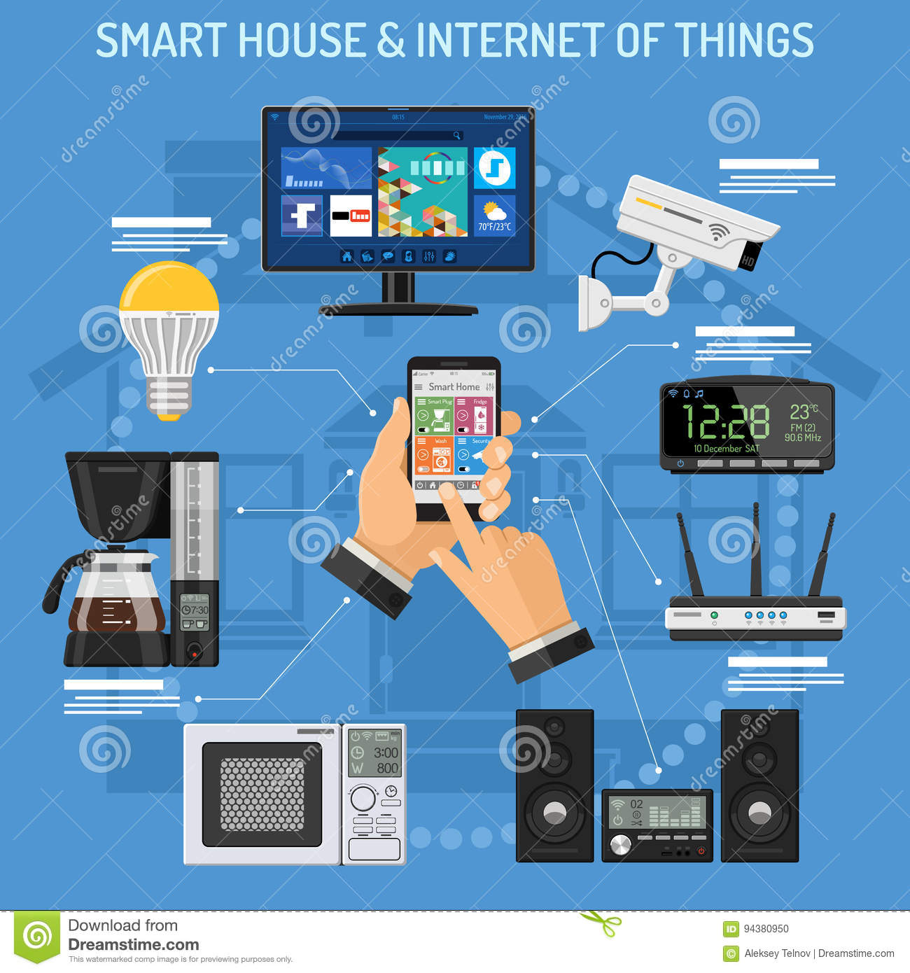 Smart house and internet of things stock vector image for Internet house