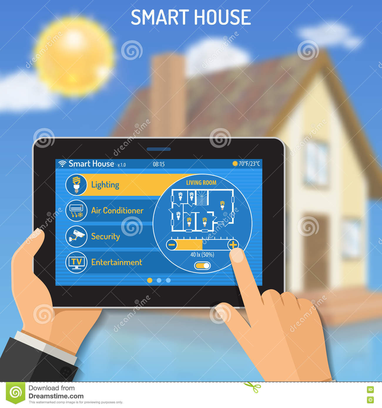 smart house and internet of things cartoon vector 83865299. Black Bedroom Furniture Sets. Home Design Ideas